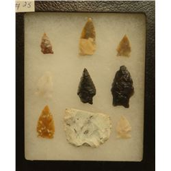 """9 artifacts in 5""""x 6""""x1"""" frame, includes 1 knife and 8 arrowheads"""