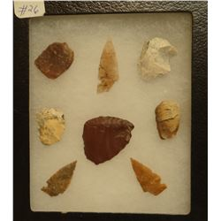 """8 artifacts in 5""""x 6""""x1"""" frame, includes 5 scrapers, 3 arrowheads"""