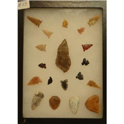 """19 artifacts in 6""""x 8""""x1"""" frame, includes 4 scrapers, 1 knife, 14 arrowheads"""