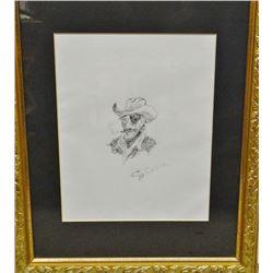 "Cheek, C. R. pen/ink, Old Patch Eye, 8"" x 10"", framed"