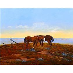 Cheek, C. R. oil, Indian Ponies, framed
