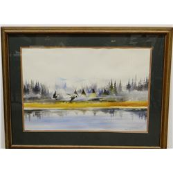"""Cuts The Rope, Clarence, watercolor, Indian Camp, Geese on the Lake, 16"""" x 24"""", framed, slight moist"""
