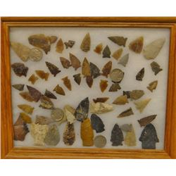 Berry crushing rock and tray of arrowheads and scrapers (60 +/- pcs.), NW North Dakota