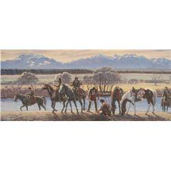 "Larry Zabel framed print, Iron Tracks On The Madison, 17"" x 40"""