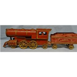 """Tin toy train with coal tender car, 26"""" long"""