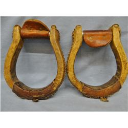 Ox bow stirrups, rawhide wrapped
