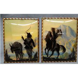 "2 silhouette western wall hangings,  4 x 6"""