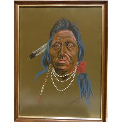 """Cuts The Rope, Clarence, original oil, Indian Warrior, 1971, 24"""" h x 18"""" w"""