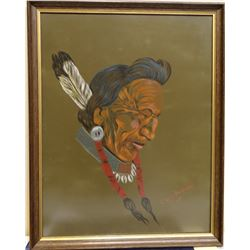 """Cuts The Rope, Clarence, original oil, Indian Warrior II, 1971, 26"""" x 20"""", framed"""
