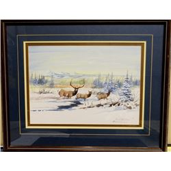 """Cuts The Rope, Clarence, watercolor, Elk Crossing, 10"""" x 14"""", 1995"""