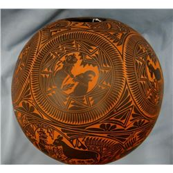 Navajo Indian Story Teller large pot, intricately cut, depicts story, marked S. R. Garcia, Laguna, N