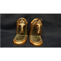 Horse head bookends, copper tone, ca 1950's