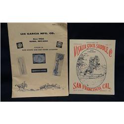 1958 Les Garcia Silver Catalog and Visalia Stock Saddle catalog, reprint