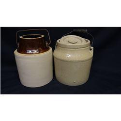 Crock jar with lid & bale handle, crock jar, no lid, both 2 qt.