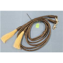 Braided leather reins, 8', horsehair tassel ends, fancy