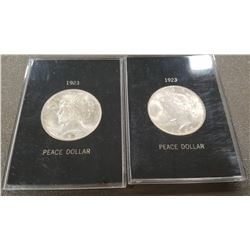 (2) 1923 Peace Dollars, w/ cases