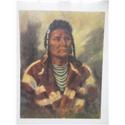 "Fay, Arlene Hooker, print of Chief Joseph, 16"" x 24"", deceased artist, unframed"