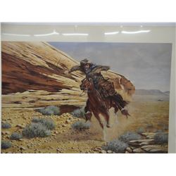 3 signed prints by T. Thompson: Pan Handle Blues; The Last Run on Rural Route 1 -Pony Express
