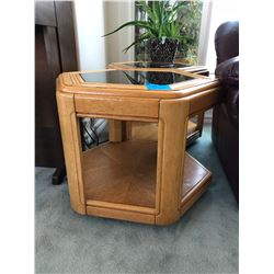 2 Hex Style Oak End Tables w/Glass Inserts