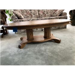 Oval Oak Wood Coffee Table w/2 Matching Oval End Tables