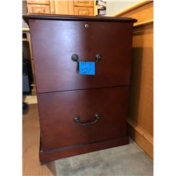 2 Drawer Cherry Wood Finish File Cabinet