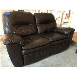 2 Seater Brown Leather Recliner (Loveseat) w/Wood Coffee, 2 End Tables w/Bottom Shelves, Matching Re