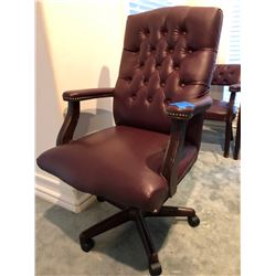 3 piece Brown Leather Office Chairs (1 swivel and adjustable on wheels and 2 Reception Chairs)