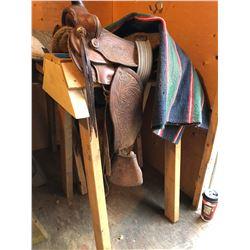 Childs Saddle/Blanket & 2 Stands w/Horse Blanket