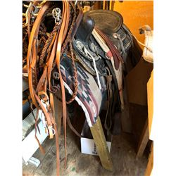 Western Leather Saddle/2 Bridles (1 for Show and 1 For Rein on Stand w/Blanket)