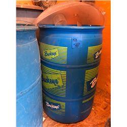 2 Barrels w/Hoses/Horse Supplement & Pellets & Pails Plus 2 Stainless Steel Pieces