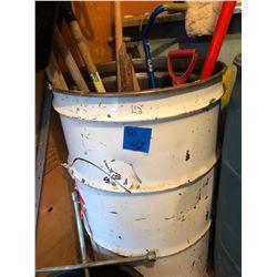 Barrel w/Forks/Shovels/Weeder/Edger (Approx. 10 pieces)