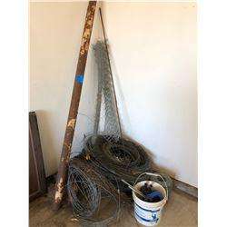 Misc. Fencing Wire, Cultivator Shovels/Guards/Sheet of Roofing/Storm Aluminum Door 32 x 80 & Metal P