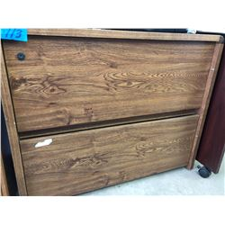 2 Drawer Wood Finish File Cabinet & 2 Drawer Wood Finish Smaller Cabinet