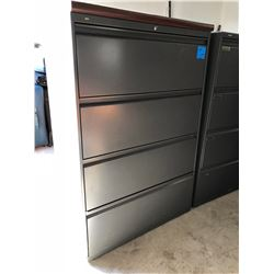 Dark Grey 4 Drawer Lateral File Cabinet w/Cherrywood Top