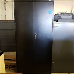 "72"" Black Locking Steel Storage Cabinet Plus Black 4 Drawer File Cabinet"