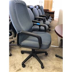 6 Grey Upholstered Office Chairs (4 Are Adjustable on Wheels and 2 are Reception Chairs)