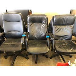 3 Black Leather Office Chairs on Wheels (one w/small Rips)