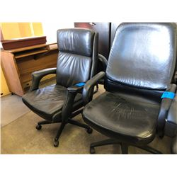 2 Black Leather Office Chairs on Wheels (Good Condition)