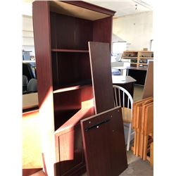 Cherry Wood Finish Office Desk (to be assembled), Matching Bookcase plus Carpet Protector