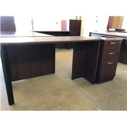 Cherrywood Finish Work Table Plus Matching 3 Drawer Cabinet