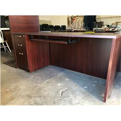 3 Piece Cherrywood Finish Office Desk w/3 Drawer Cabinet (Exec Cond) Plus Carpet Protector