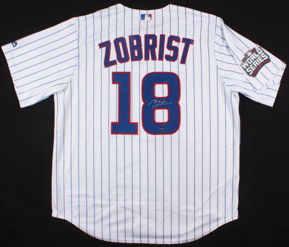 online store 39be2 c067a Ben Zobrist Signed Cubs 2016 World Series Jersey (Schwartz ...