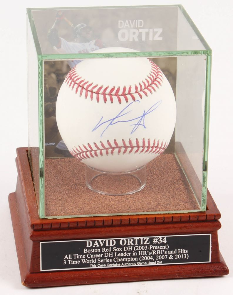 74723adab Image 1   David Ortiz Signed OML Baseball with High Quality Game-Used Dirt  Display