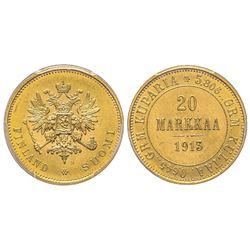 Finland, Nicholas II 1894-1917 20 Markkaa, 1913 S, AU 6.45 g. Ref : Fr. 3, KM#9.2  Conservation : PC