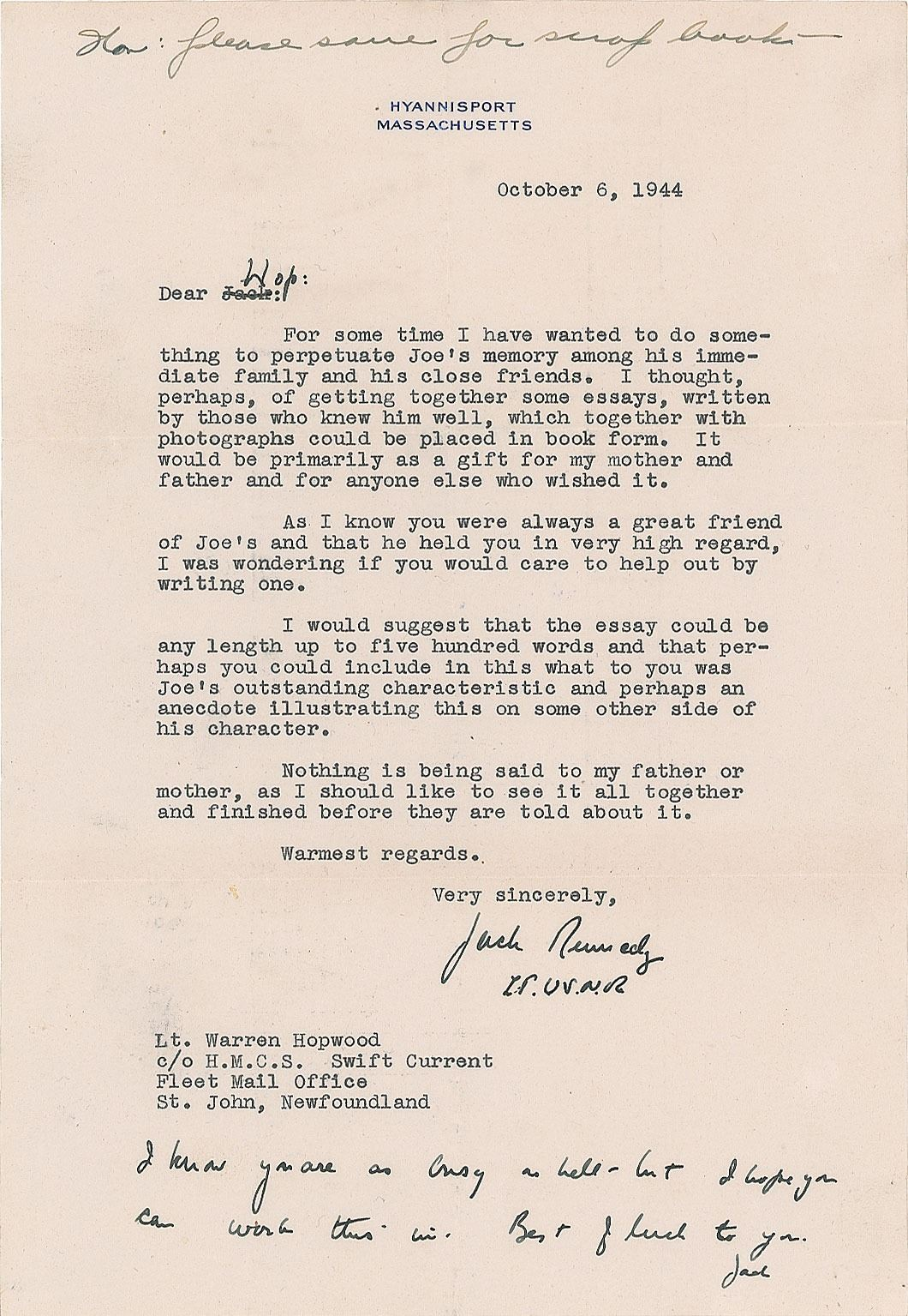John F  Kennedy Typed Letter Signed