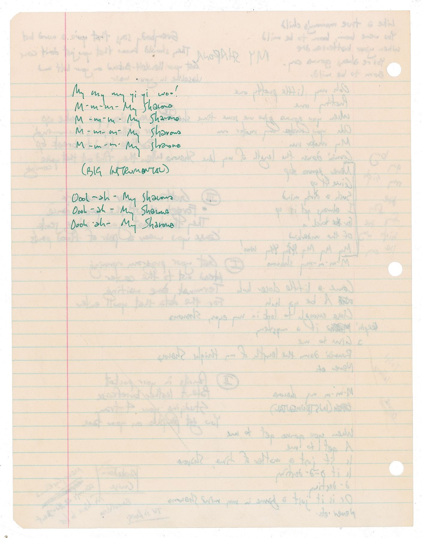 Weird Al' Yankovic Handwritten Lyrics