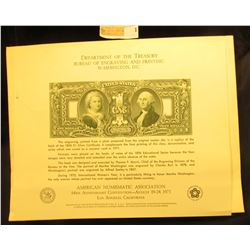"""Department of the Treasury Bureau of Engraving and Printing Washington, D.C."" Souvenir Card depicti"