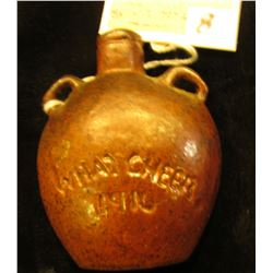 "Stoneware Miniature U.S. Civil War Campaign Flask ""U.S."", ""What Cheer 1916"", from the famous, but no"