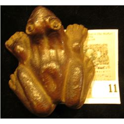 """What Cheer"" Pottery Male Bull Frog with sexual parts showing."