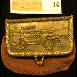 "Coin Purse with a metal latch depicting an antique Convertible Car. Labeled inside ""Carberry's/Cor."